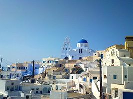 Tour to Pyrgos and Oia with wine tasting