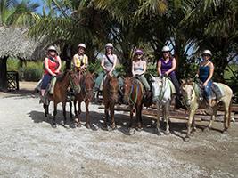 Horse riding in a Caribbean farm