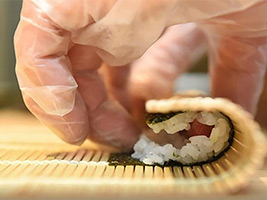 Sushi Making Lesson with beef-nabe for Lunch